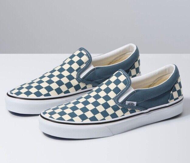 Brand New Unisex Slip On Vans Blue Mirage, True White Athletic Skate Shoes