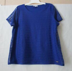 Calvin-Klein-size-2XL-XXL-royal-blue-short-sleeve-pullover-blouse