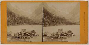 Lago Di Gaube Cauterets Francia Foto Stereo Th2n22 Vintage Albumina c1875