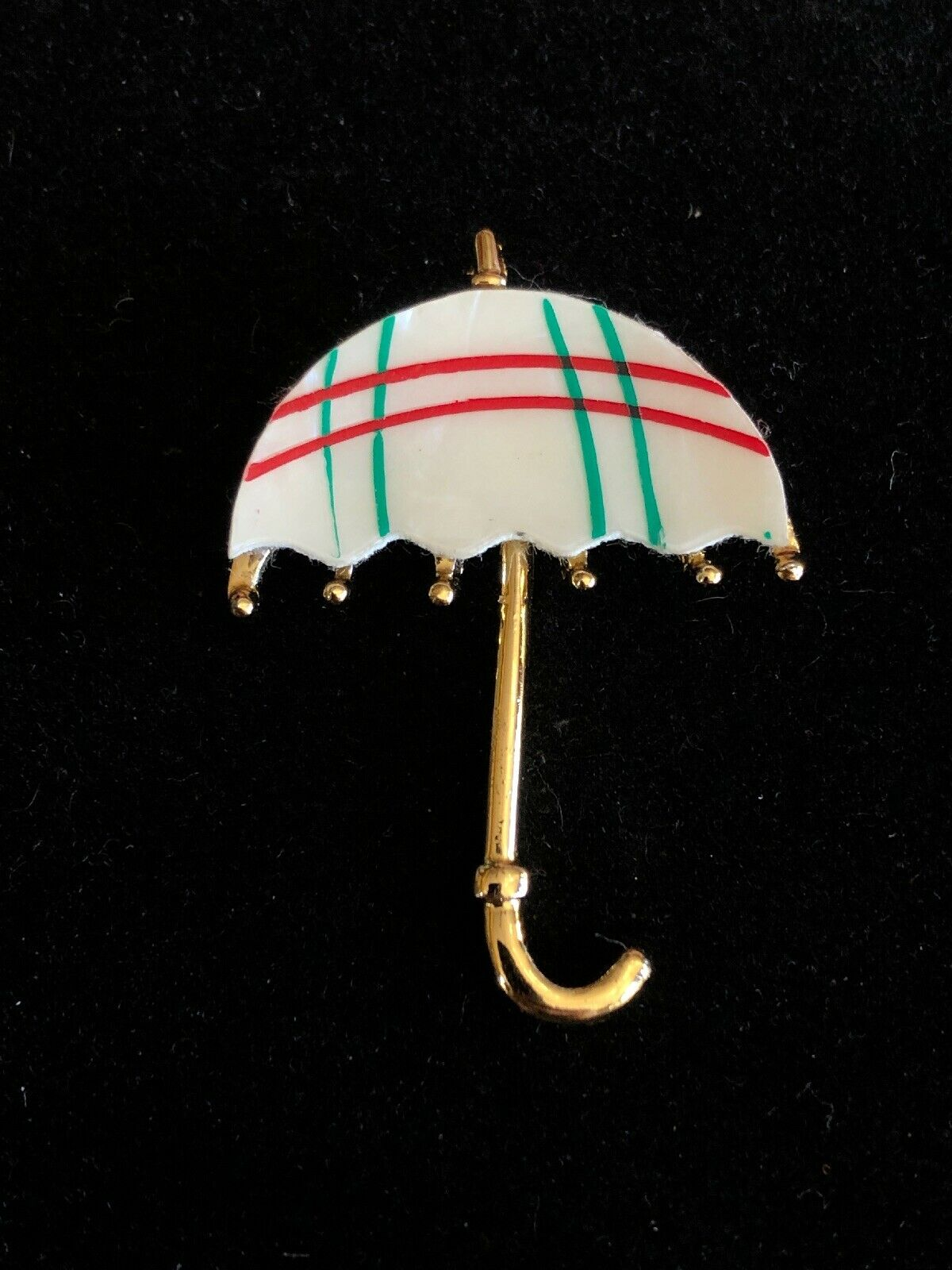 Cute Vintage 1970s Mother Of Pearl Red Green Umbr… - image 4