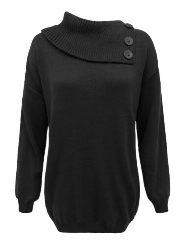 Womens Ladies Knitted 3 Button Polo Neck Jumper Pullover Sweater Top Plus Sizes