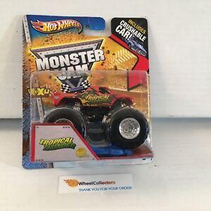 4-Tropical-Thunder-Hot-Wheels-Monster-Jam-w-Crushable-Car-J1
