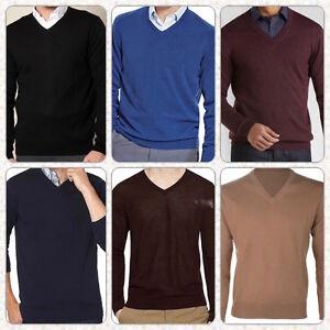 Mens-Boys-Plain-Knit-V-Neck-Jumper-Casual-Basic-Sweater-Pullover-Top