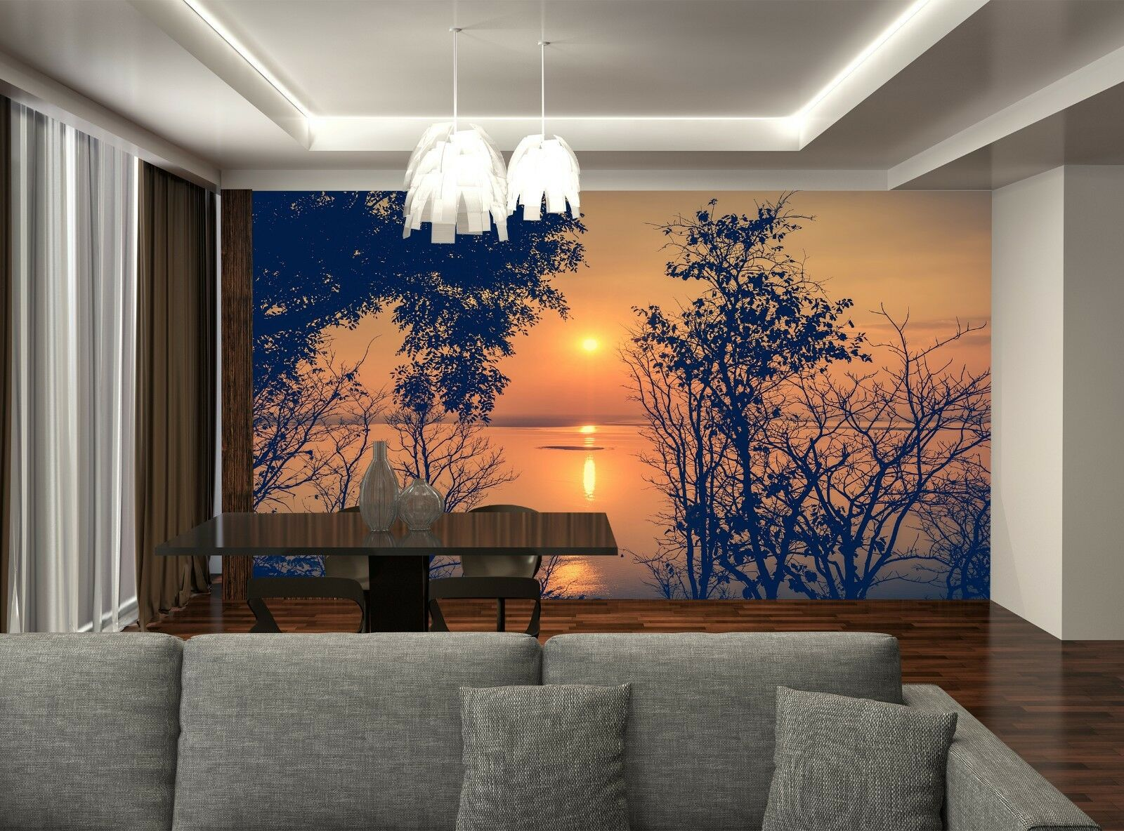 Photo Wallpaper Farbeful Sunset GIANT WALL DECOR PAPER POSTER FOR BEDROOM
