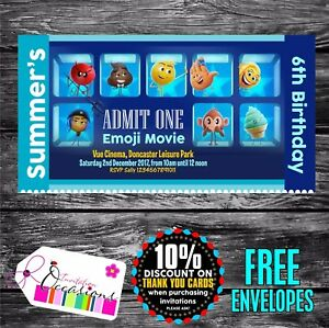 Image Is Loading Personalised Birthday Invitations Emoji Movie Ticket Cinema Party