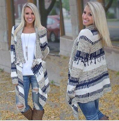 New hot Women's Cardigan Long Sleeve Knitted Sweater Outwear Loose Jacket Coat