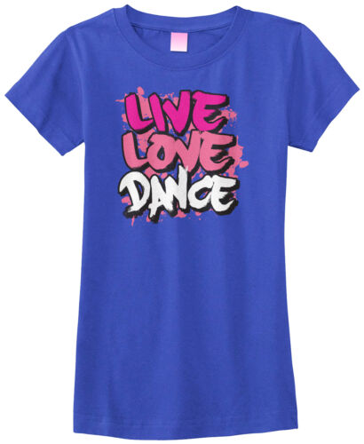 Threadrock filles LIVE LOVE DANCE Ajusté T-Shirt Slogan Dancing Considérant