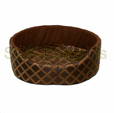 Brown LARGE Round Fabric & Foam Puppy Pet Dog Cat Nesting Bed Mat Basket Washabl