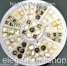 #ER55 Nail Art Deco Black White Clear Square Roound Glitter Ceramic Rhinestones