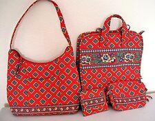 Vera Bradley Red Bandana Trifold Travel Cosmetic Organizer Bag