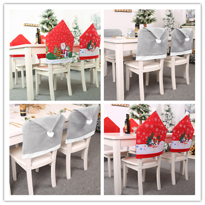 2pcs Christmas Chair Covers Tablecloth Dining Table Seat Santa Hat Home Decor Ebay