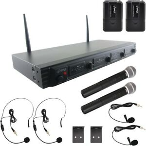 Pyle Wireless Mic System, UHF Quad Channel Fixed Frequency, RF & AF Signal LED