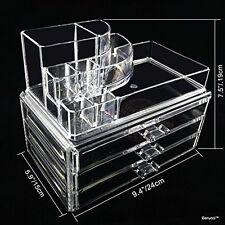 Clear Acrylic Jewelry Makeup Cosmetic Organizer Storage  - 3 Drawer Round Top