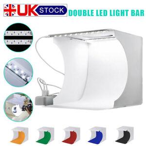 Double-Mini-LED-Portable-Photo-Studio-Photography-Light-Tent-Backdrop-Cube-Box