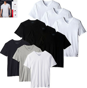 16e5920d Mens Tommy Hilfiger 3 Pack Classic Cotton V Neck T-shirt 3 Pack Tee ...
