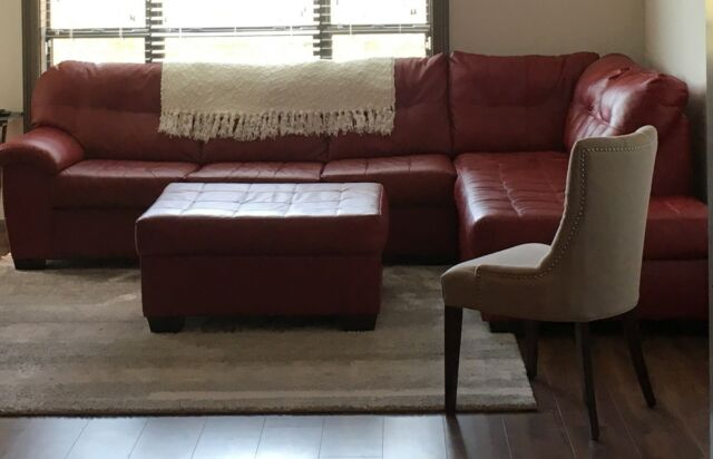 Preowned Leather Living Room Furniture Sectional Sofa Set In Red