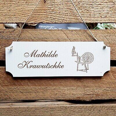Personalisiertes Schild « SPINNRAD » Türschild Name Schneider Schneiderei