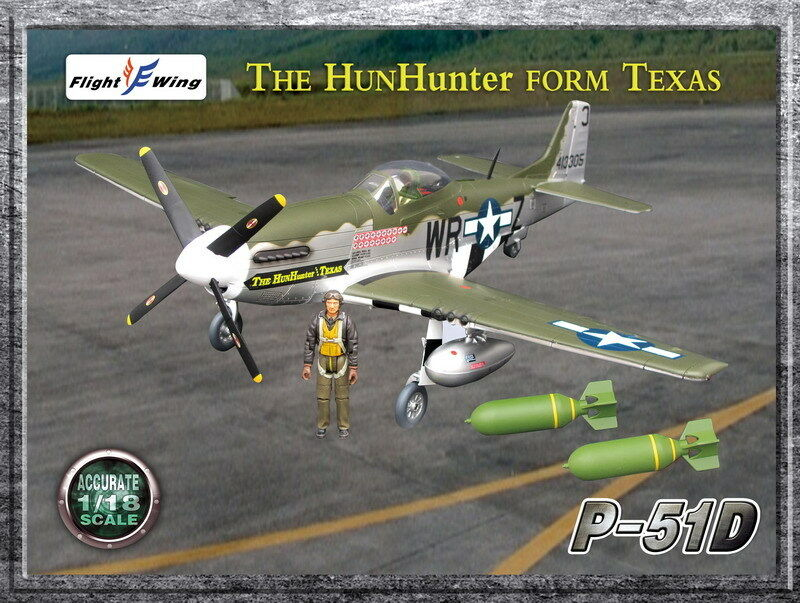 Flight Wing WWII US P-51D  The Hun Hunter From Texas  MUSTANG Fighter Plane 1 18