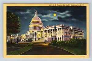 Washington-DC-Capitol-Night-Moon-Vintage-Postcard-Z33