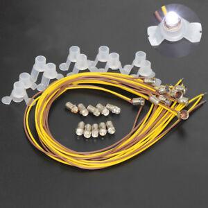 E501WT-10-White-LED-Screw-Bulb-and-Stand-Base-E5-E5-5-12V-14V-Spur-H0-N-Scale