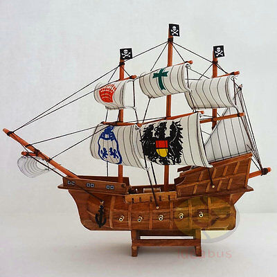 "Nautical Décor Dependable Wood Model 13.5""length Pirate Ship Sailing Boat Corsair Tall Ship Nautical Decor Catalogues Will Be Sent Upon Request"