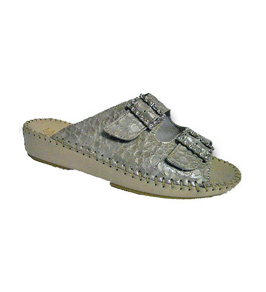 Jen Laplume Ivory Reptile Rhinestone Buckle Sandal