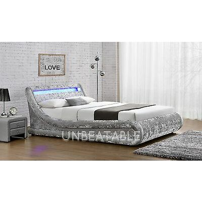 LED Ottoman Double King Size Velvet Fabric Bed Silver or Black With Mattress NEW