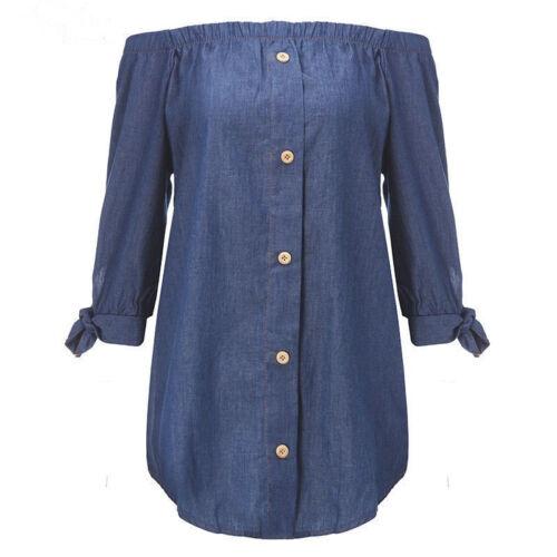 WOMENS DENIM JEANS BLUE FRILL OFF SHOULDER BARDOT SUMMER TUNIC DRESS 8-18