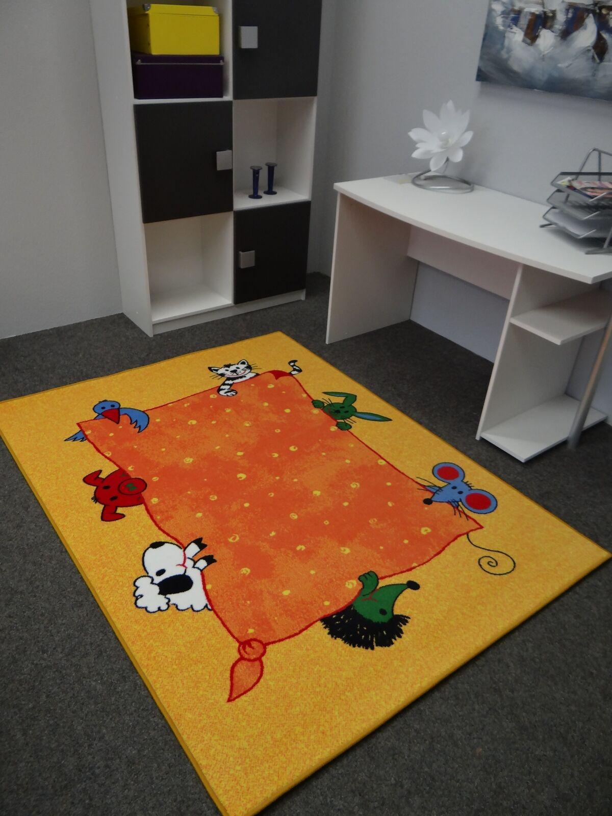 Kinderteppich, Tiere gelb Orange, Velours, 200 x 300cm,Spielteppich,Spielteppich