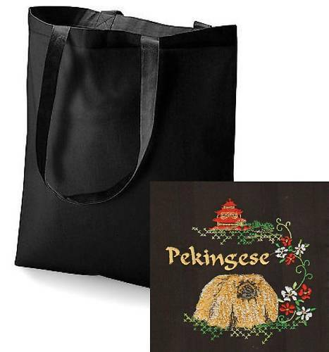 Pekingese Tote Bag  Perfect Gift Embroidered by Dogmania