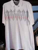 Basic Editions Size Xlt Dress/casual Polo Ss Shirt- White W/black/red Design