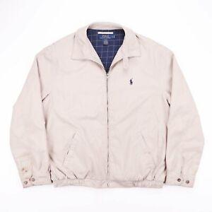Vintage-POLO-RALPH-LAUREN-Beige-Check-Lined-Bomber-Harrington-Jacket-Mens-Size-L