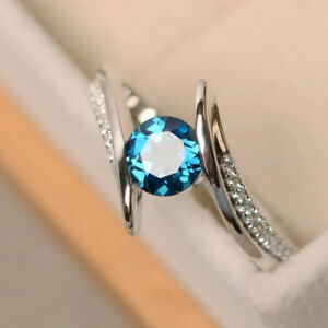 Gorgeous-925-Silver-Wedding-Rings-for-Women-Round-Cut-Aquamarine-Ring-Size-6-10