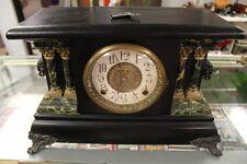"""Antique 1903 E. Ingraham Mantle """"Adrian"""" Clock Shelf Chime Ornate With Key"""