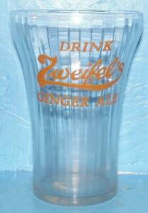 Drink ZWEIFEL's Ginger Ale Vintage Soda Glass orange Lettering 3 7/8 inches Tall