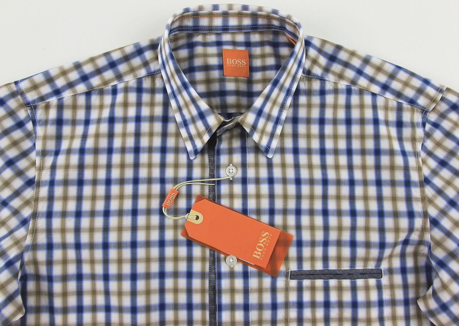 Men's HUGO BOSS orange White bluee gold Plaid Shirt XL XLarge NWT NEW CieloebuE
