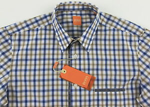 e333bcec547f Men s HUGO BOSS ORANGE White Blue Gold Plaid Shirt XL XLarge NWT NEW ...