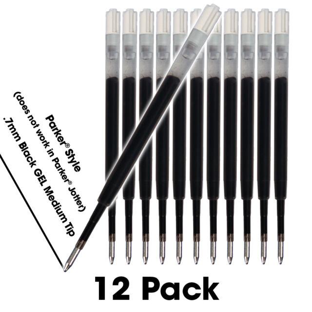 2 x Parker Roller Ballpoint Refill Black Refils Fine Tip 0.5 mm USA Seller