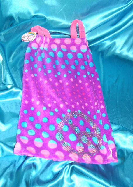 NWT Justice Girls Spa Wrap Robe Glitter Peace So SOFT Purple Blue Pink~ XS/S