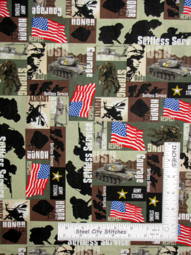 USA Military US Army Strong Duty Flag Green Cotton Fabric Santee By The Yard