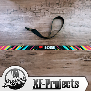 Armband-i-Love-Techno-Musik-Wrist-Festivalband-Stoffarmband-Polyester-Band