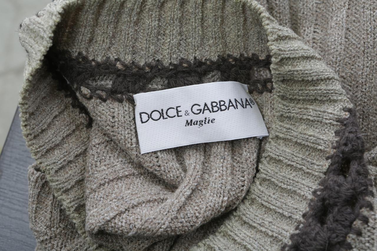 DOLCE & GABBANA Mens Sage Knit-Crochet V-Neck Sle… - image 4