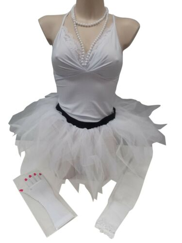 NEON 5 LAYER TUTU SKIRT 80S FANCY DRESS LEGWARMERS GLOVES BEADS HEADBAND PLUS