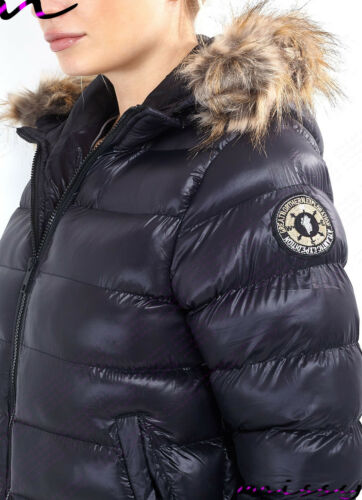 New WOMENS PUFFER JACKET Ladies Quilted Padded Bubble Fur HOOD Warm WINTER COAT