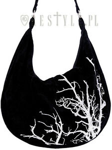 Gothic Hobo Saco Ricamo Branches Witch Velvet Restyle White Bag Tree qx8XwUZ