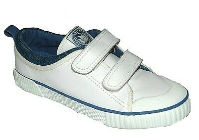 Buckle My Shoe London Youth UK 1 & 2 White Leather Touch Fastening New Trainers