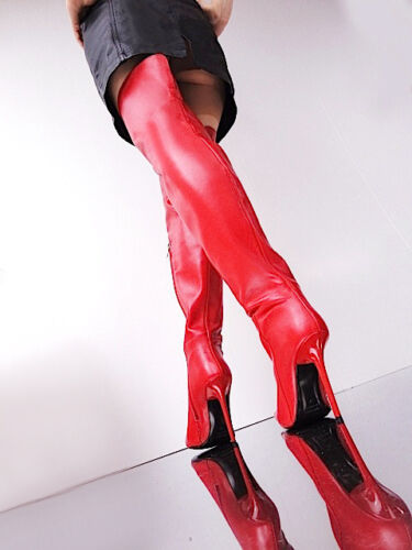 Overknee Neuf Pointu Red Stiefel 40 Cq Bottes Boots Rouge Leather Couture Custom tAZqqxI