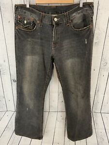 62f9bc018 TRUE RELIGION BILLY Men s Gray Wash Embroidered Pocket Boot Jeans 36 ...