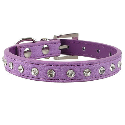 Top Grade Suede Leather Crystal Rhinestones Dog Puppy Cat Collars XXS\XS\S