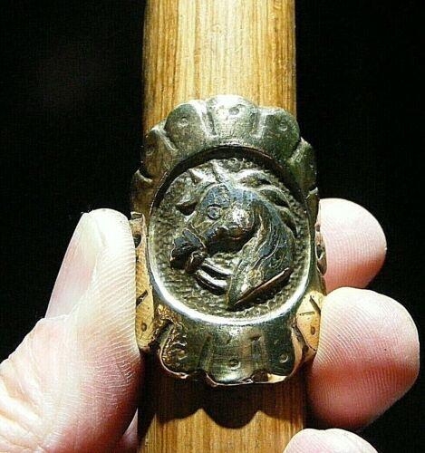Walking Stick badge antique 19 C livrée Cheval Laiton 4 cm haut